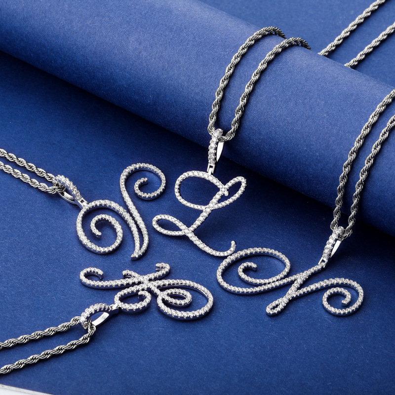 Letras collares para las mujeres de los hombres de lujo de Bling circón Hip Hop collares 18K plateado rodio collares del diseñador