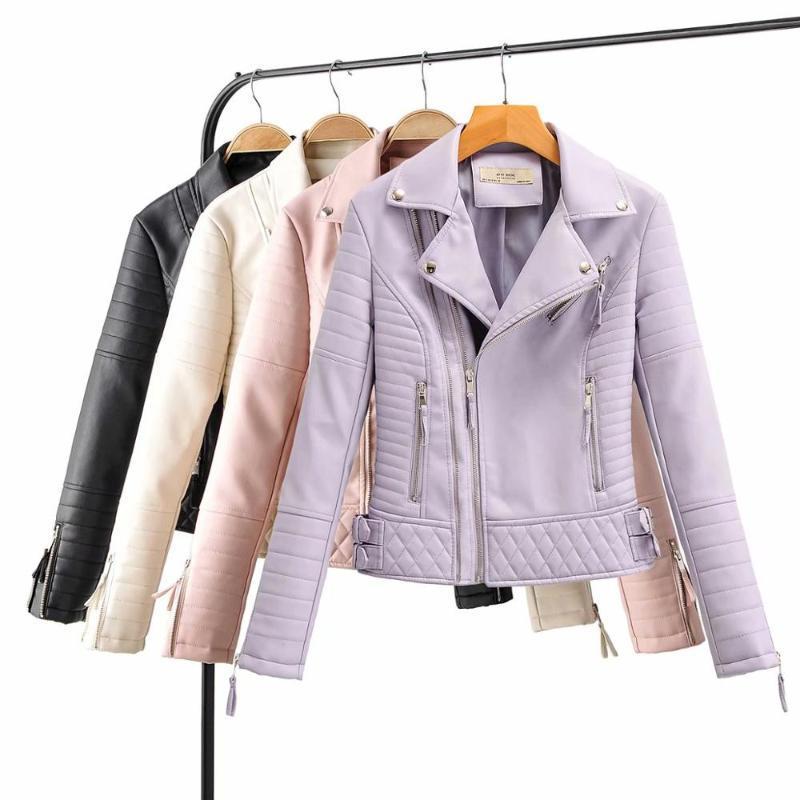 2020 New Fashion Women Motorcycle Faux Leather Jackets Ladies Long Sleeve Autumn Winter Biker Zippers Streetwear Black pink Coat