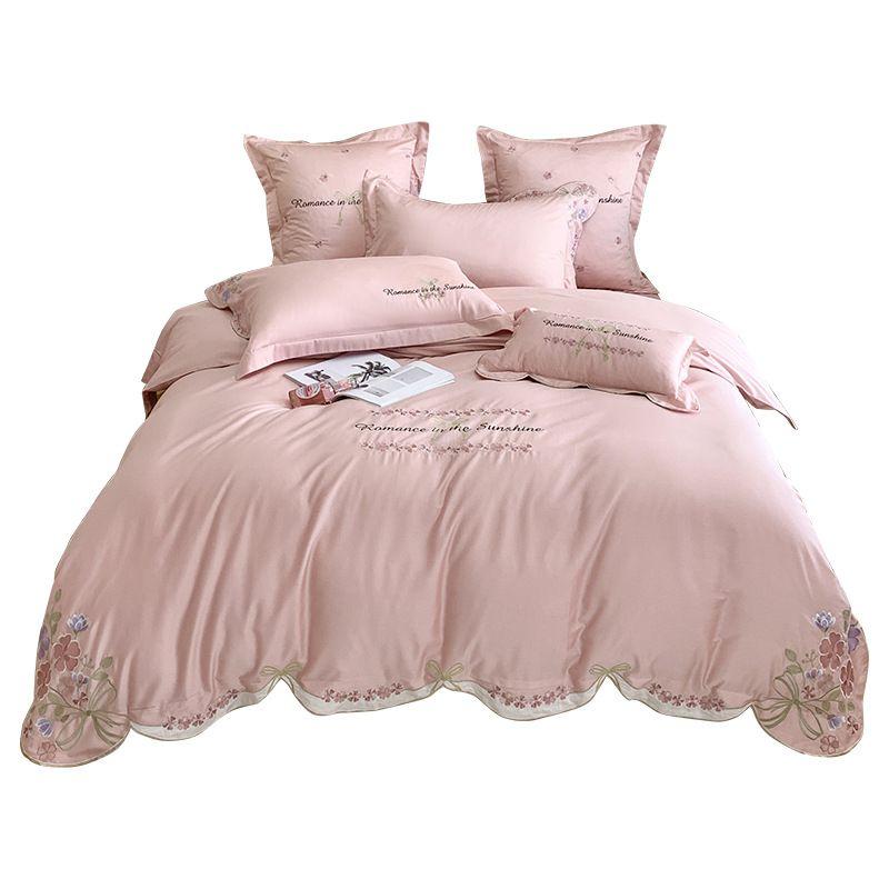 Pizzo ricamato rosa di lusso letto di lusso King Size Pastorale Americana copripiumini lenzuolo Set Modello Camera cotone floreale Set Doppia Letto