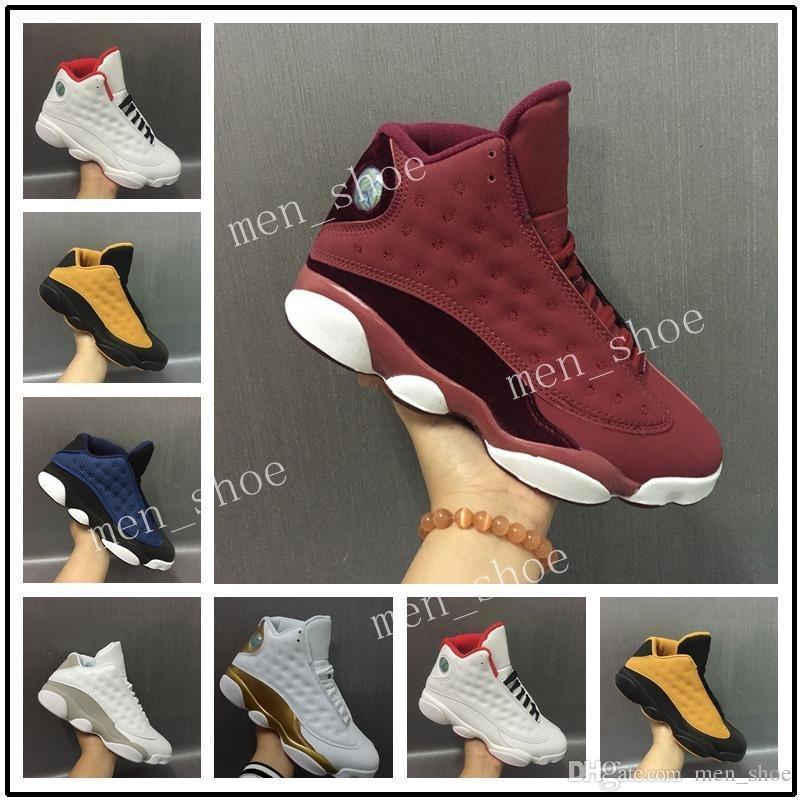 Mayor de la alta calidad Nueva XIII 13 Vino tinto terciopelo Zapatos heredera baloncesto de los hombres zapatillas de deporte al aire libre atlético En Venta