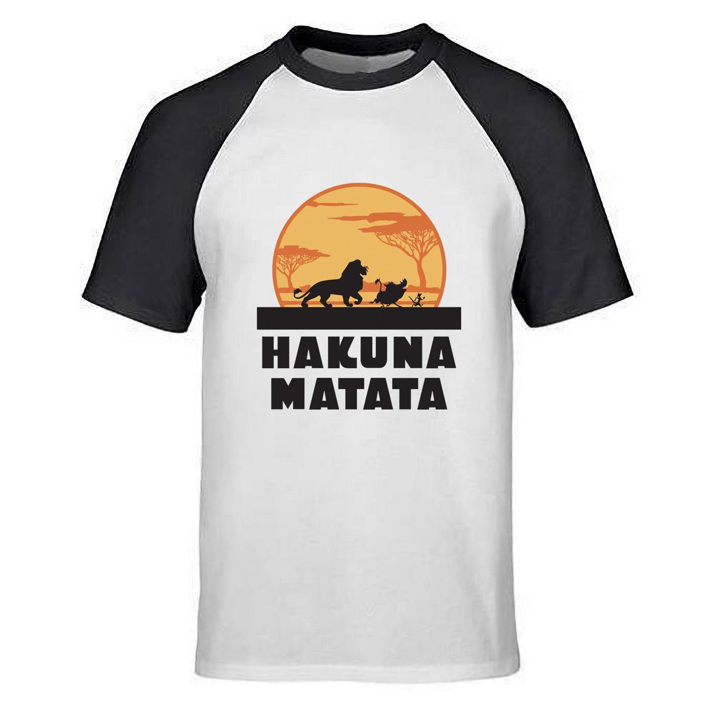 El rey león Simba camiseta de los hombres de dibujos animados Hakuna Matata amigo Timón Pumba divertido algodón Nueva Verano Primeros Raglán Película camiseta