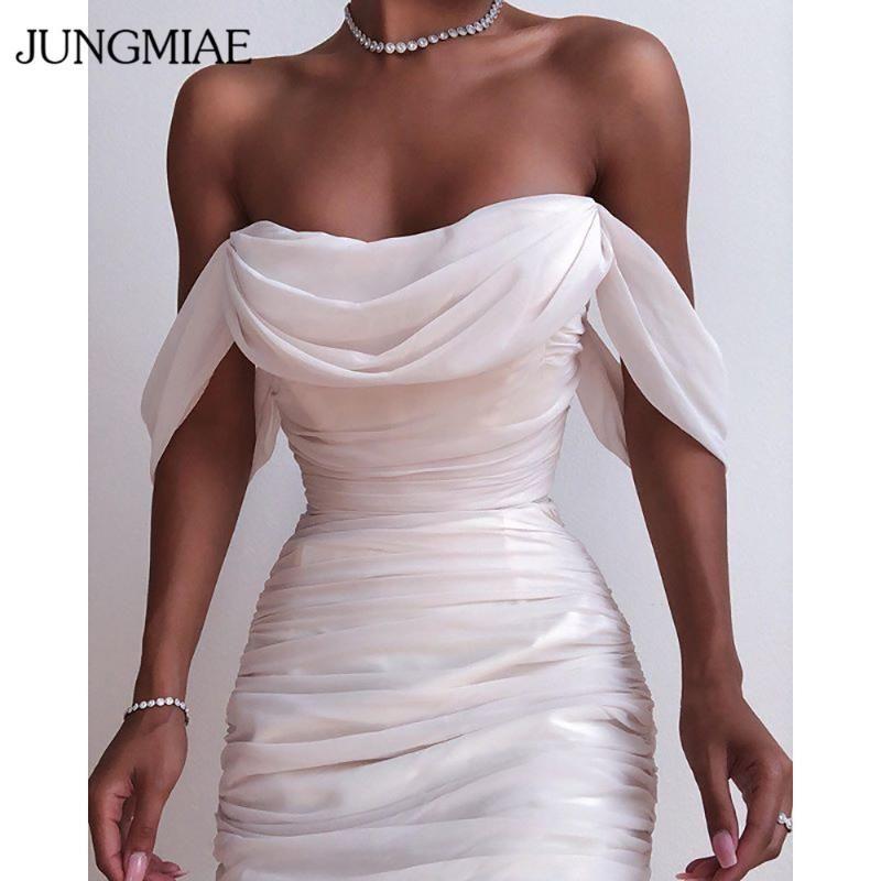 JUNGMIAE Wmoen apagado-hombro atractivo vestido Slim Fit partido de coctel de los vestidos del vendaje
