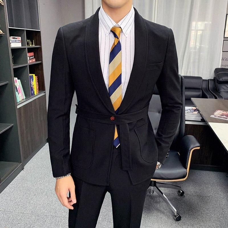 Suit 2 Parte dos homens New casamento sólido ternos do noivo Masculino Slim Fit Blazers Pants Botão Único Belt negócio Terno Formal Dc9S #