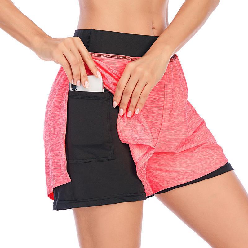 اليوغا تتسابق إمرأة عارضة الراحة السراويل طبقات مزدوجة مع جيوب عالية مرونة الخصر بسط لصالة رياضية شورت الرياضة