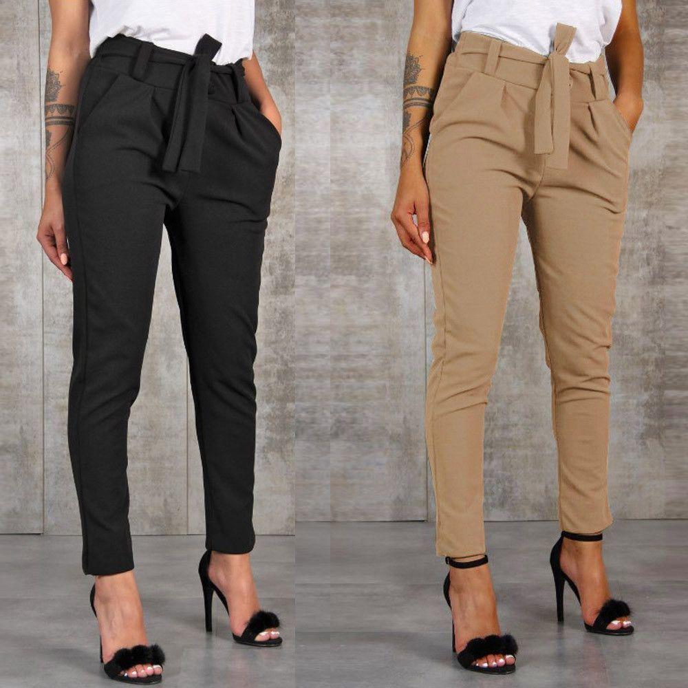 Mulheres cintura alta Harem Pants Mulheres atadura Stripe Elastic cintura Casual Calças