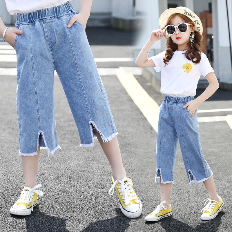Çocuk giyim kızın 7 maddelik ve Çocuk giyim kot 2020 yeni stil Kore tarzı moda pantolon boynuz kot kanatlı bir 7