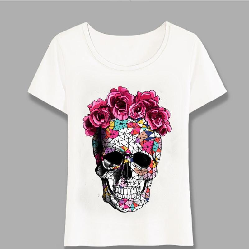 Новое лето женщин с коротким рукавом Цветы Череп Art Печать футболки Элегантный дизайн Повседневная Женщины Топы Cute Girl Tee Harajuku