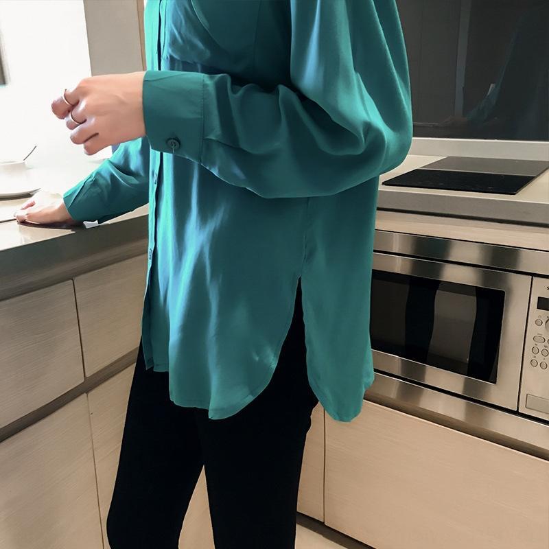 FNZ9z Frauen neues 2020 elegante Frauen lang Stil lost faul koreanische Hülse Shirt niedriges Hemd