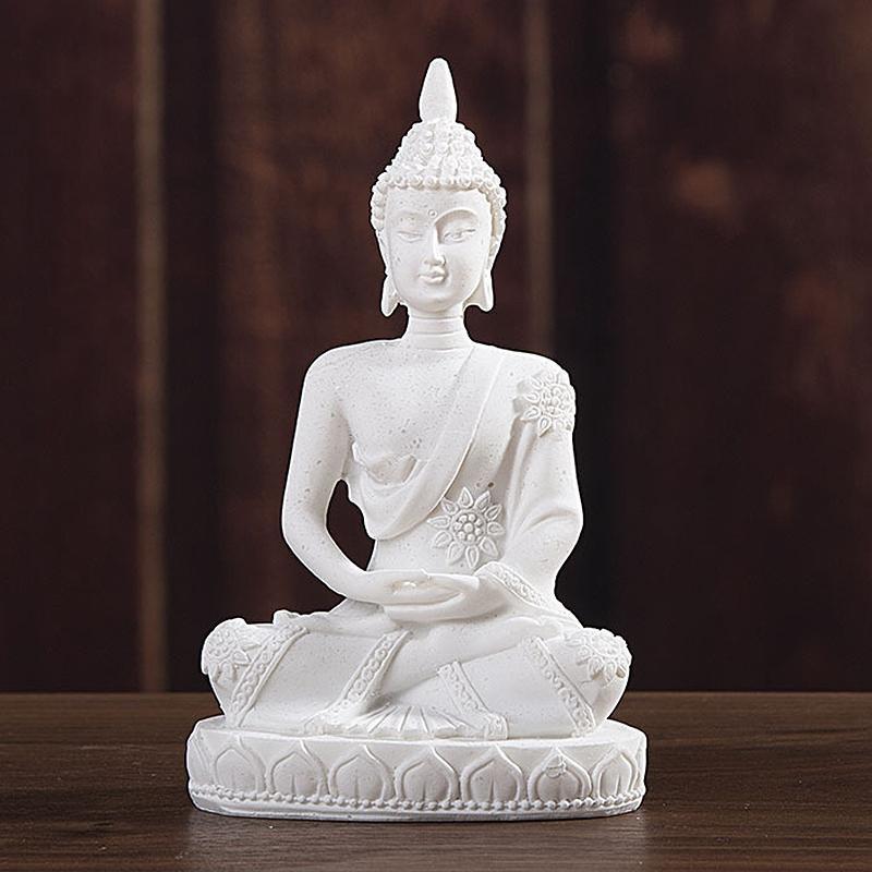 Car Décoration Nature Grès Bouddha Figurine Sculpture Accueil Décoration pour la maison de voiture Bureau 7.5X5X11cm
