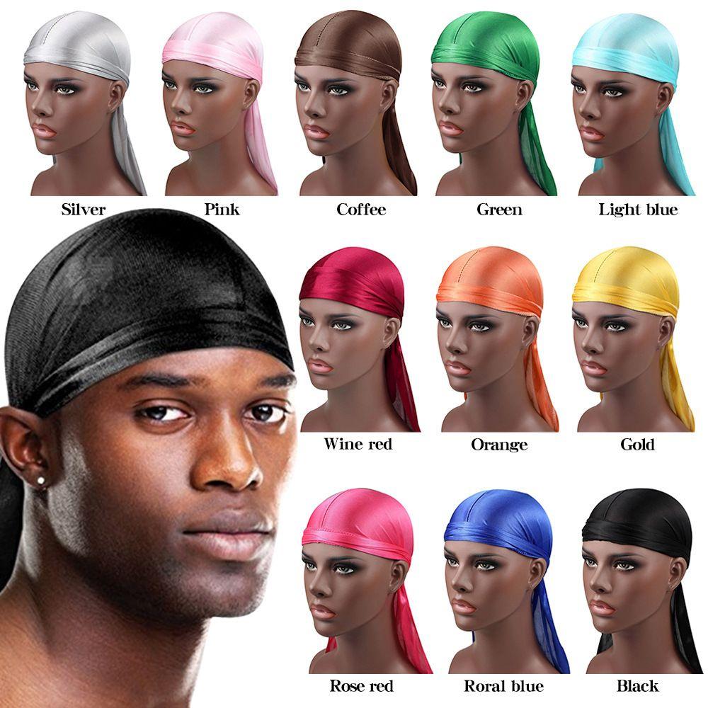 Fashion Mens Satin Durags Bandanna Turban Wigs Pirate Party Hats Hip Hop Men Silky Durag Headwear Headband Long Tail Designer Du Doo Rag