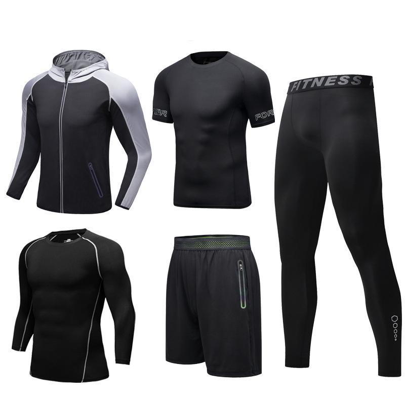 Spor Giyim Erkekler Spor Suits 5 Parça Koşu Fitness Koşu Spor Giyim Forması Hoodie ve Pantolon Koşçu için Ter Set