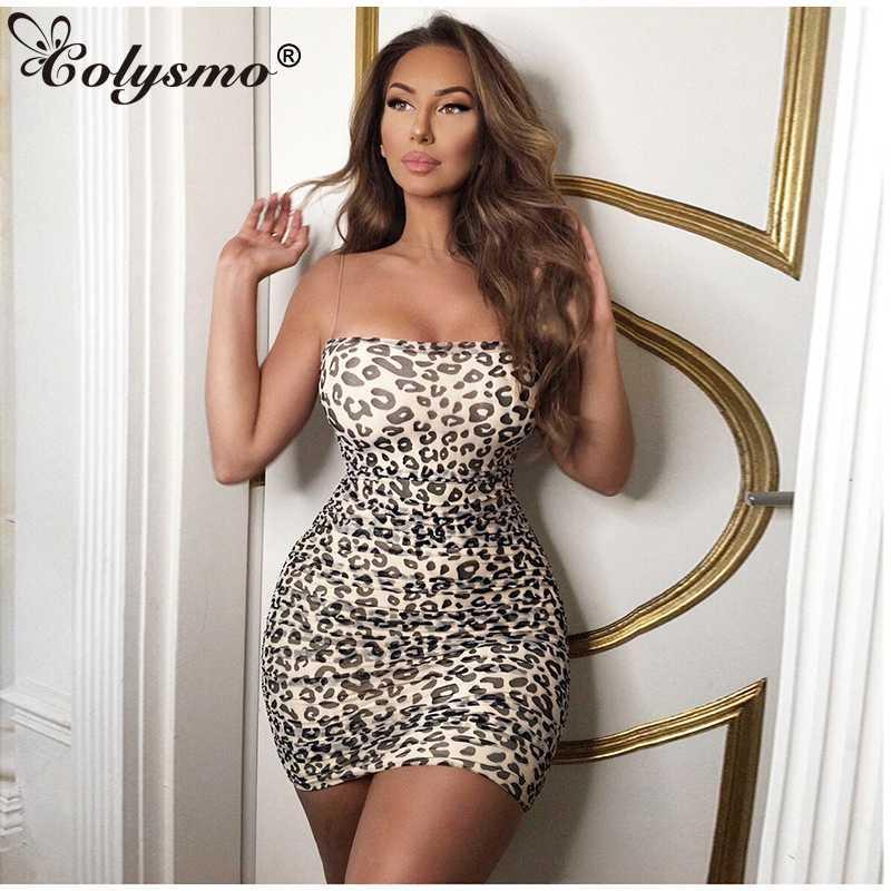Colysmo 2 camadas Verão vestido Mulheres 2020 Vestidos de malha Vestidos Sexy Leopard mangas Impresso partido da mulher Bodyocn Night Club