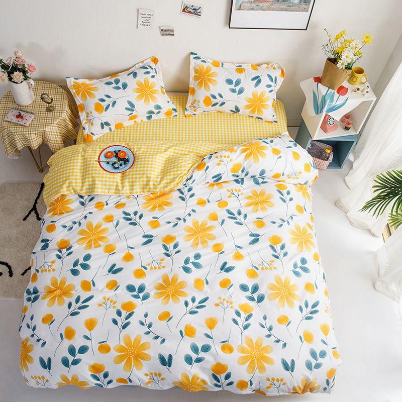 Klassische Pastoral Little Flower Bettwäsche-Sets Bettwäsche Quilt-Deckblatt-Kissenbezug Set Yellow Bettwäsche 200x230cm Full Size