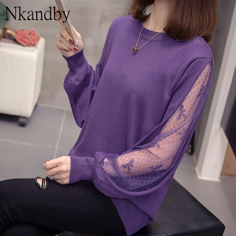 Plus Size Knit-Pullover 2020 Frühlings Trendy koreanische lose Bogen-Muster Sweater Spitze Patchwork Langarm Chic Tops Büro Knitwear
