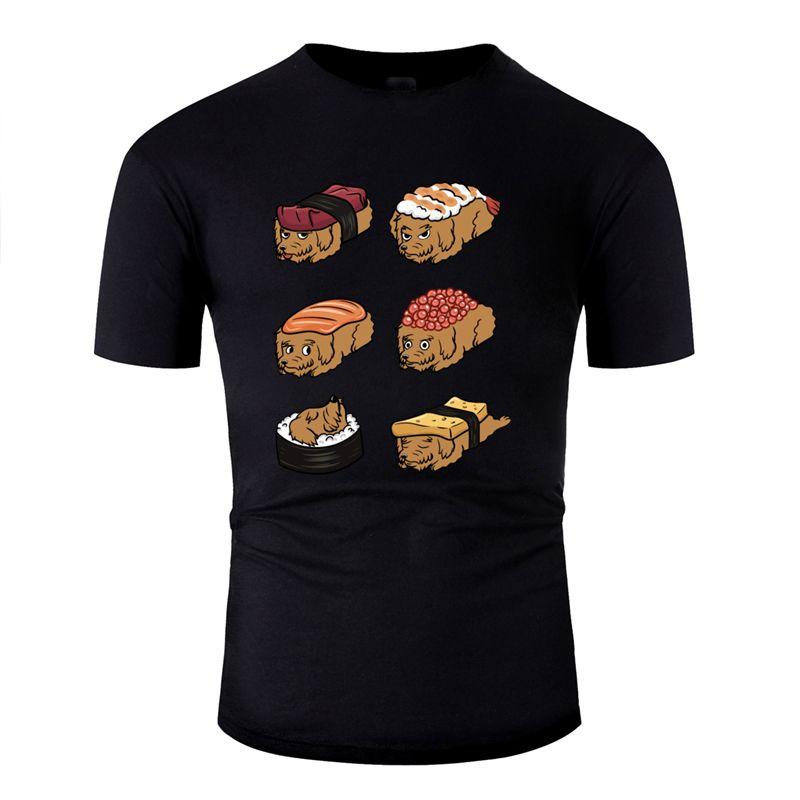 erkekler için büyük Goldendoodle suşi nigiri tshirt yazdır 2019 serin düz renk erkek tshirt Ç Boyun% 100 pamuk HipHop