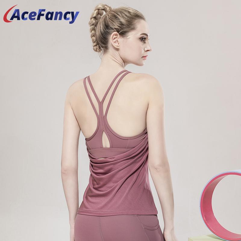 Acefancy Absort Suor Yoga Shirts Women 2226 Jogging Yoga de alças da aptidão mangas Vest Singlet Feminino Top Sport desgaste