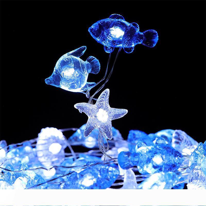 Natal do Dia das Bruxas decorativas marinhos tema Luzes Cordas 40 LED intempéries 8Mode Indoor e Outdoor Controle Remoto fio de cobre Lâmpada 10075
