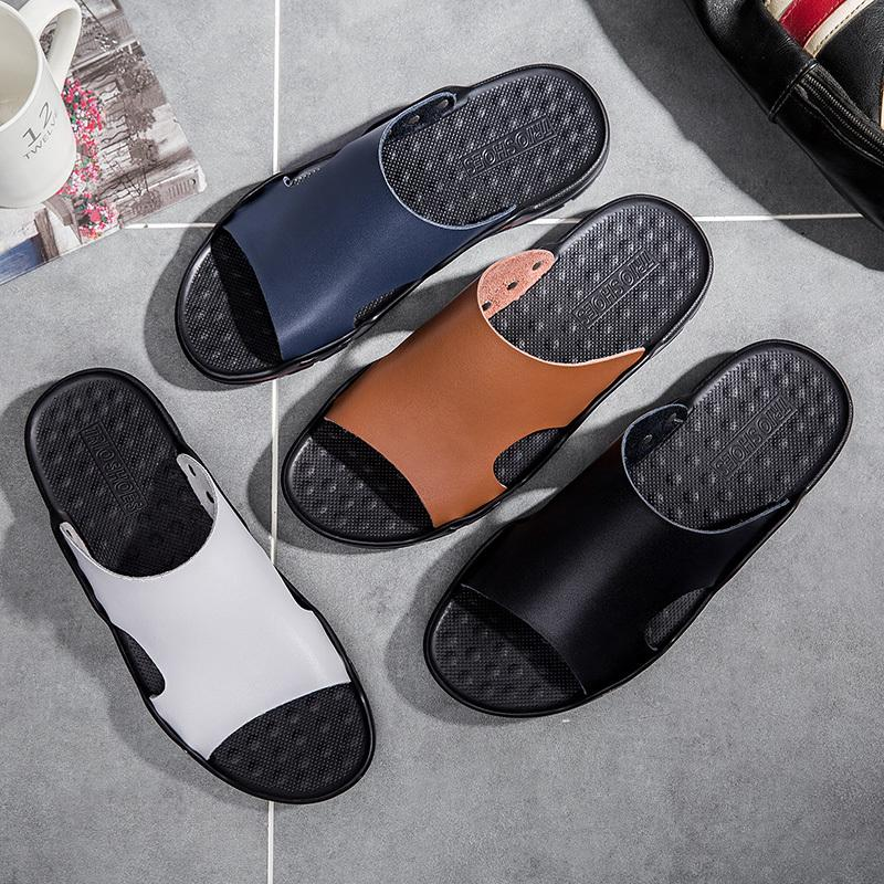 ALCUBIEREE Marca verano de los hombres sandalias planas de tirón de la playa ocasional de los fracasos de los zapatos antideslizantes cubierta de la casa del despertador del tamaño grande de 48 MX200617