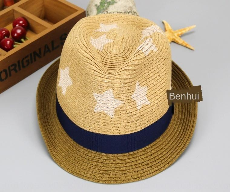 MZ4805 beş köşeli yıldız çocuk saman bebek güneş saman moda Çocuk şapka plaj güneş şapkası