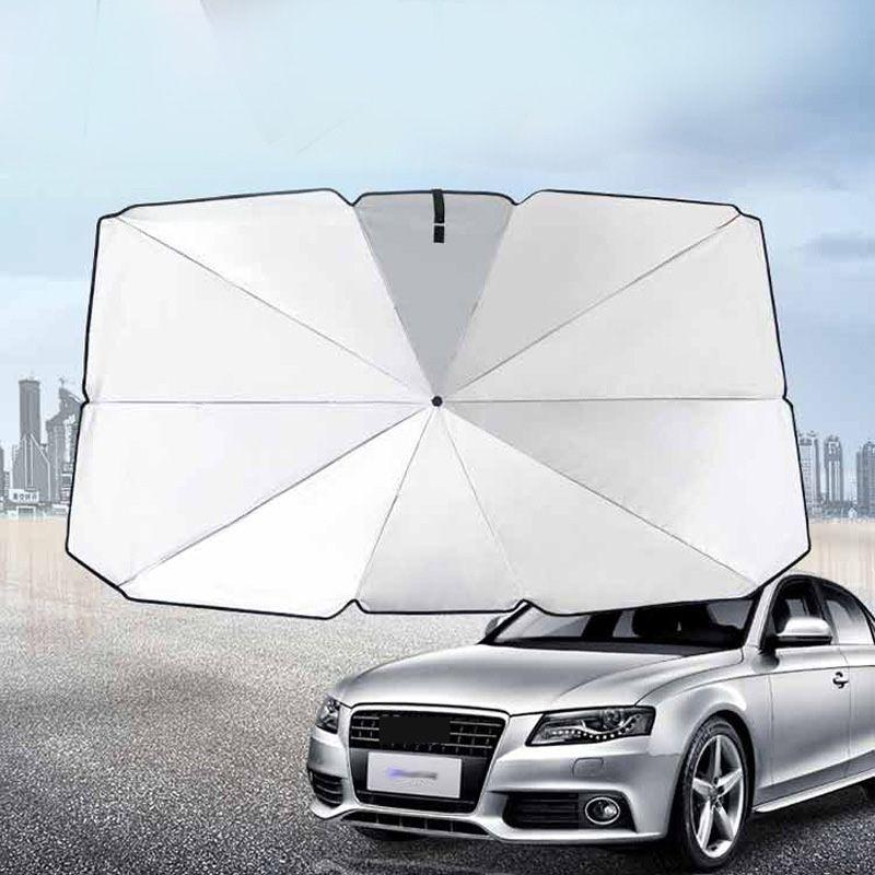 sombrilla del coche del parabrisas delantero sombrilla de protección solar sencillos para accesorios de automóvil acumulador de calor Aislamiento de titanio plata pegamento