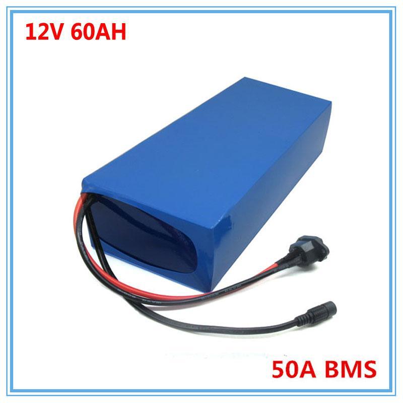 500W 12V 60AH pil sokak lambası / eBike için 12.6V 5A Şarj 50A BMS ile 12 Volt 3S Lityum