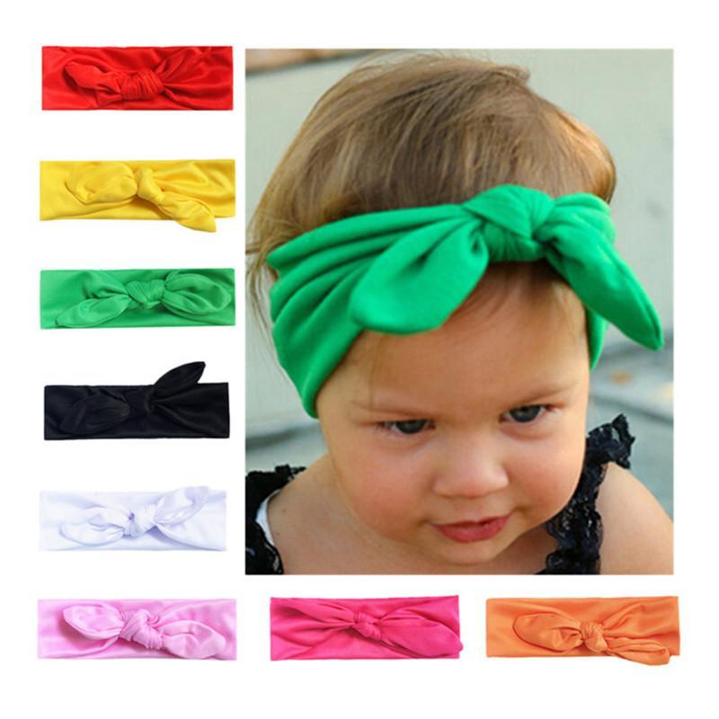 INS de la niña del oído del conejito del conejo con banda de sujeción precioso Spandex arco vendas Hairbands del oído Cinta de cabeza sólido elástico regalos nudo Accesorios para el cabello