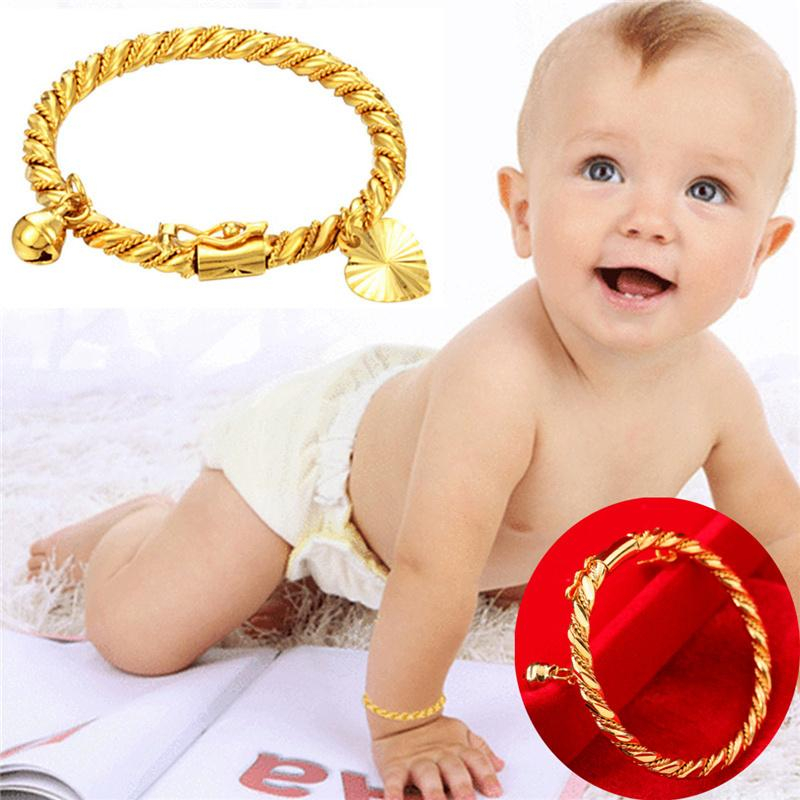 Bangle for Girls/Baby Gold Color Charm Beads Bracelet Small Bell/Heart Jewelry Child Party Gifts