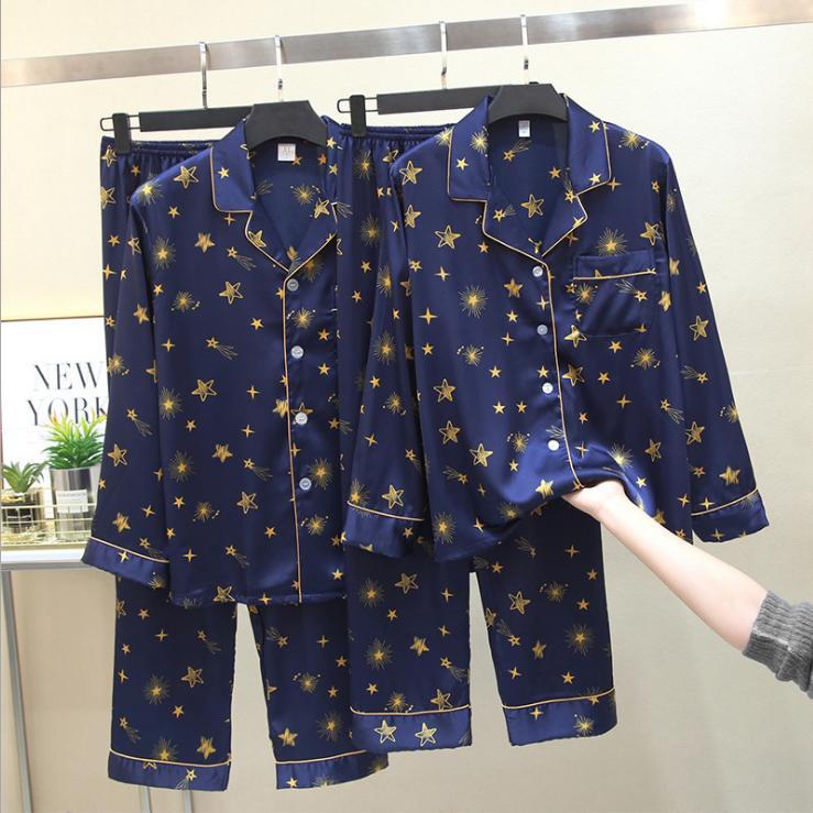 NEW 2020 otoño y GANADOR 100% de seda azul cinco estrellas patrón de la manera DISEÑO M-3XL TAMAÑO cuello en V y LONG SLEEVE CASUAL PIJAMAS set envío libre