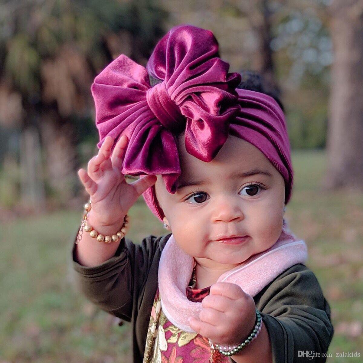 Kız bebekler Big Bow Baş bandı Turban Butik yay düğüm kadife Saç Bandı Düz renk Esnekliği Saç Aksesuarları moda Çocuk Saç Bow