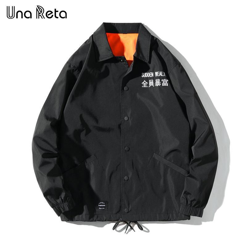 Una Reta Куртки Мужчины 2020 New Hip Hop Вышитые текст куртки пальто моды случайные однобортный пиджак Тренеры Streetwear T200725
