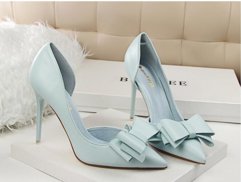 women High Heel Sandal Blue Black Shoes For Women Women's Heels sweet bow high heels stiletto Comfort Block