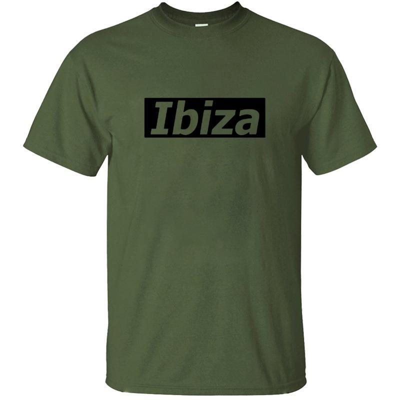 Настройка Customized Ibiza с фоном T Рубашка мужская 100% хлопок Белый сплошной цвет Harajuku Мужские футболки