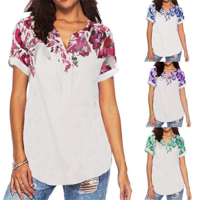 Женщины Топы Мода Плюс Размер дамы Тис V шеи Женщины Tshirts конструктора с коротким рукавом Печатный лето