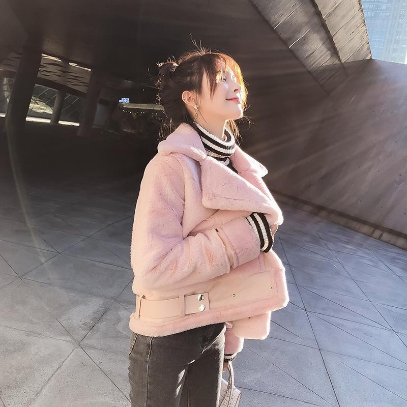 YLgdh Damenbekleidung 2020 Warmer Mantel Herbst / Winter 8577 Berühmtheit koreanische warmer Pelz integrierte Wildleder verdickten Artmantel Frauen Internet