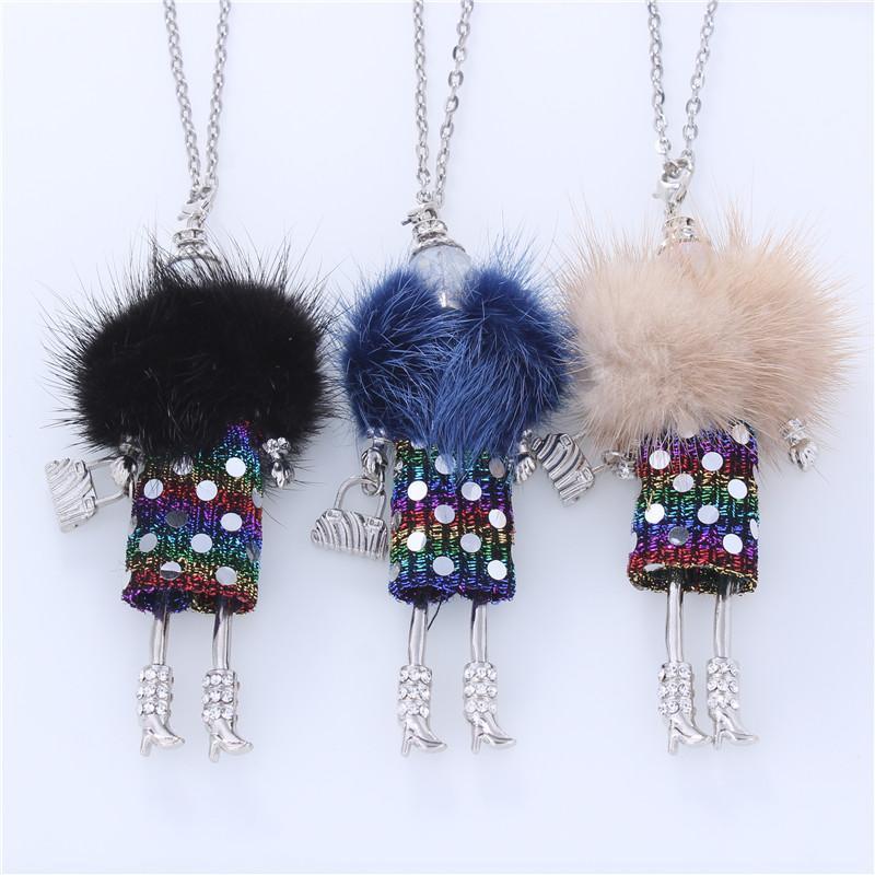 Nuovo 5 colori pelliccia bambola Handmade francese Dichiarazione collane della catena lunga collana del pendente della Boemia delle donne delle ragazze Accessori