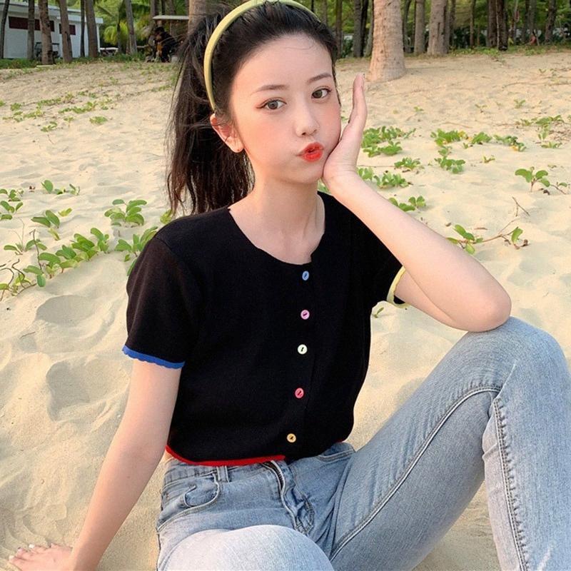 Nuova Maglia T shirt 2020 per le donne di modo selvaggio o collo Maniche corte Crop Tops cardigan sottile T Camicia limitata T Shirt 24 Ore Sivo #