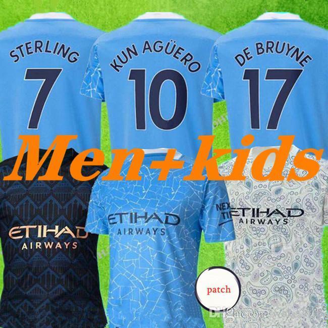 2020 2021 Üst Tayland STERLING DE BRUYNE Kun Agüero 19 20 21 manchester futbol forması şehir forması futbol forması erkekler çocuklar kiti setleri üniformalar