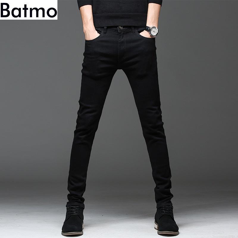 alta qualità Batmo 2019 nuovo arrivo casuali sottili elastici dei jeans neri uomini, pantaloni a matita degli uomini, uomini scarni dei jeans 2108