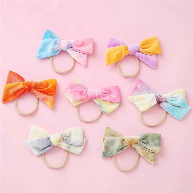 1pcs New Infant Velvet Bow Hairband Elastic Headband Ice Cream Mix Color Girls Bowknot Head Wrap Baby Accessories Tiara Gift
