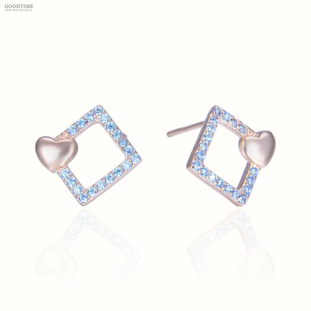 Fashion Women 925 Sterling Silver Fashion Squares And Love Shape Ornaments Jewelry Accessories Stud Earring For Girl Dress Up