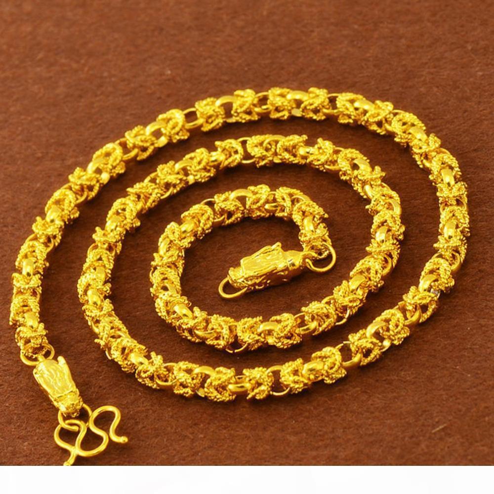 Hip Hop Collier chaîne en or jaune 18 carats Rempli de mode Collier Hommes Lien chaîne Déclaration Bijoux 60 cm de long