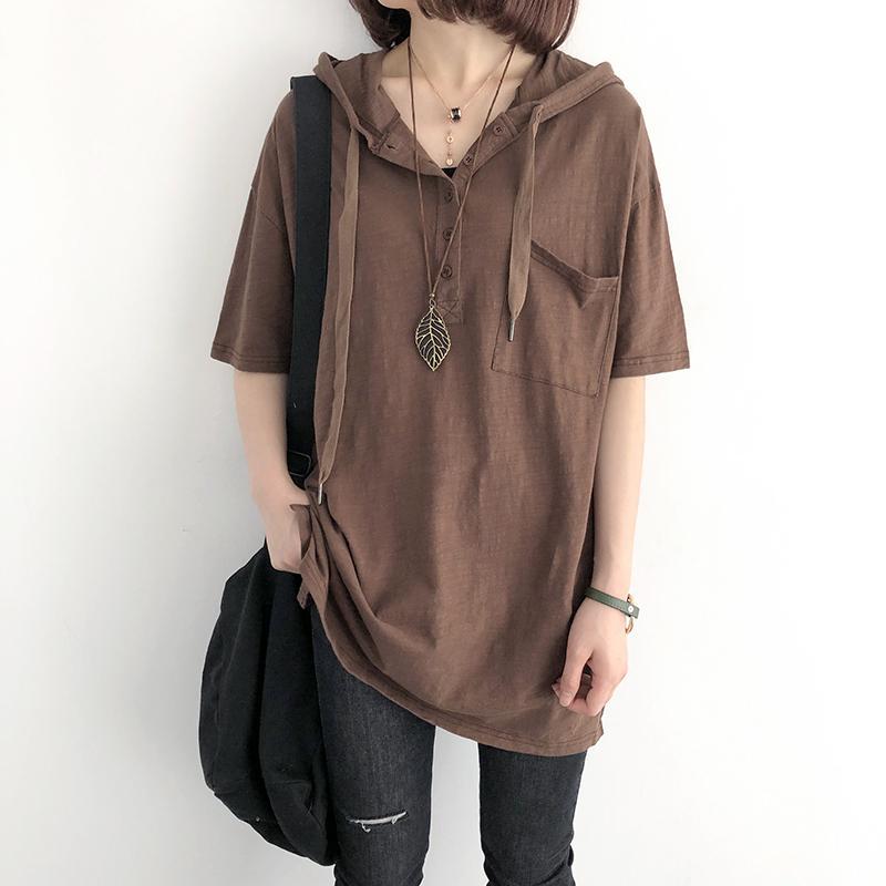 T-shirt das mulheres Johnature Vintage Mulheres com capuz t-shirts Plus size Botão de cor sólida 2021 verão de algodão de manga curta solta casual