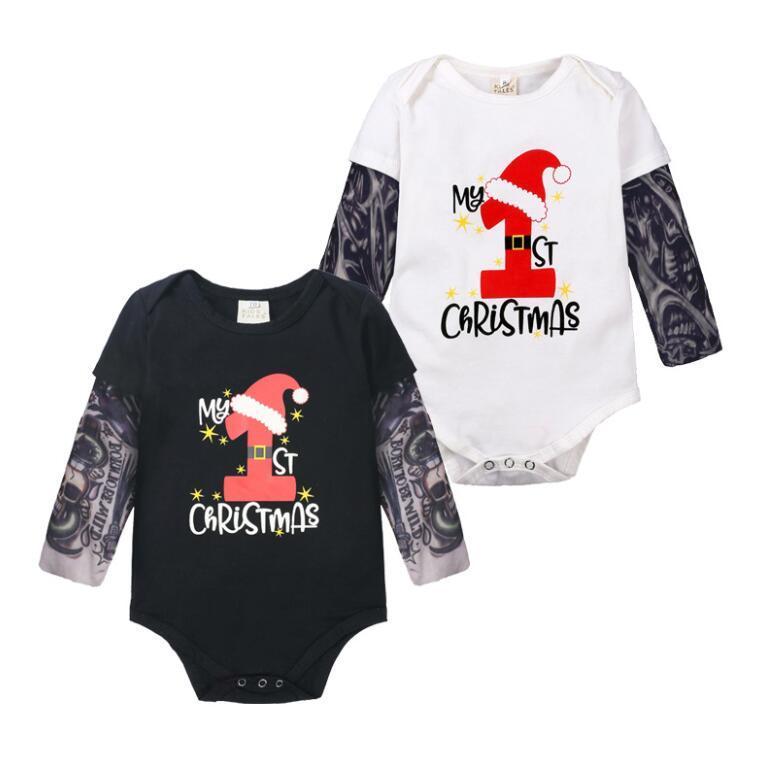 infantil de Natal desgaste Baby One roupas pedaço 2020 novos meninos e meninas hip terno tatuagem mangas babadores do bebê