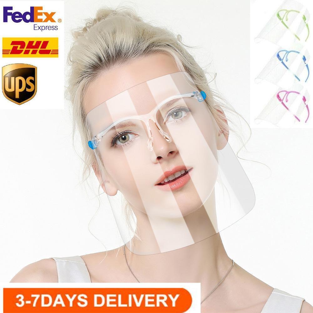 США STOCK Face Shield очки Goggle многоразового Faceshield Взрослый / Дети козырек Прозрачного Anti-Fog Layer Беречь глаза