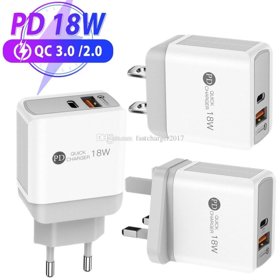 18 W PD + QC3.0 USB C Şarj Hızlı Şarj Duvar Güç Adaptörü AB İNGILTERE ABD Fişi iPhone Xiaomi Samsung