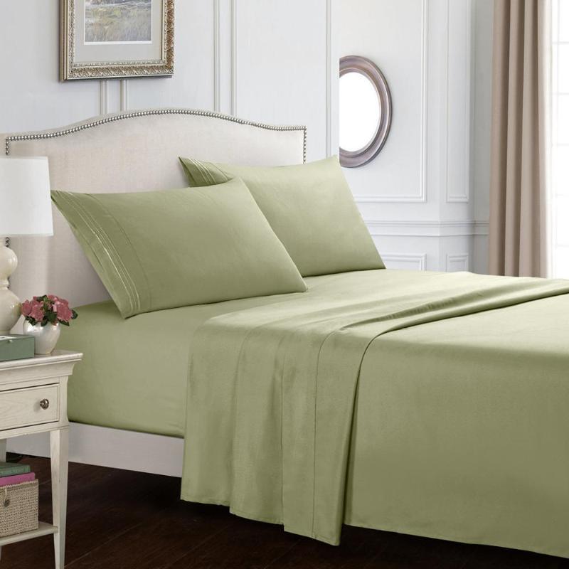 4шт постельного белья чистого комплекта постельных принадлежностей Queen King Bed нордическое покрытие Покрывала приспособленного лист + плоские листы + наволочка Домашнего текстиля