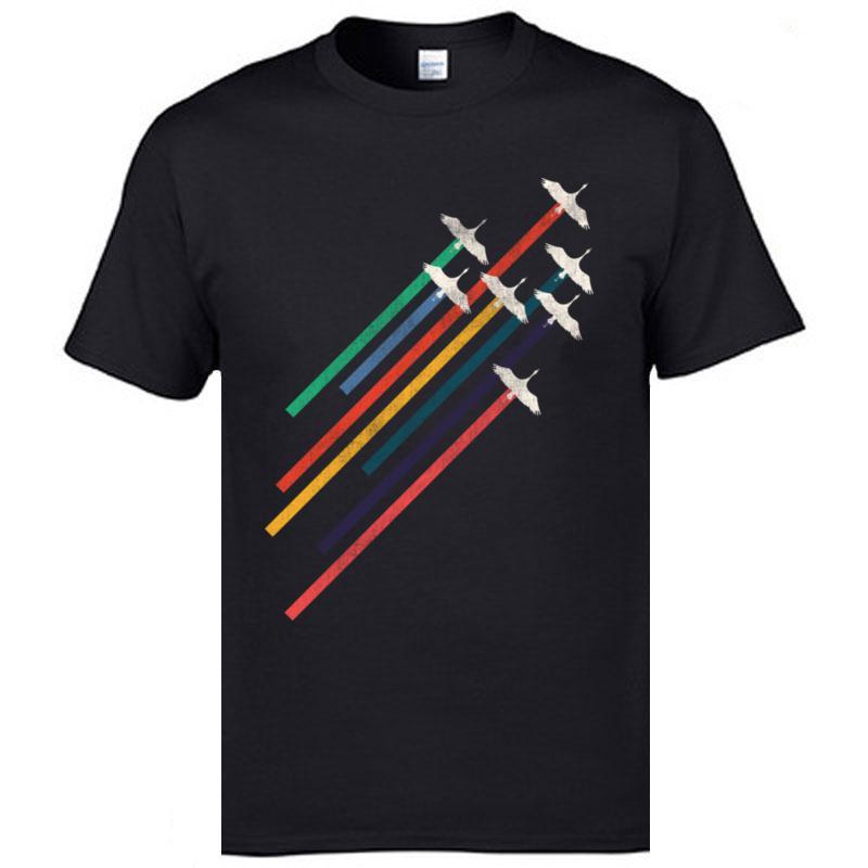 Alta calidad Grúas Rianbow Plano Calle Aeronave camisetas de algodón cuello redondo joven camisetas de manga corta marca de moda camiseta de los hombres