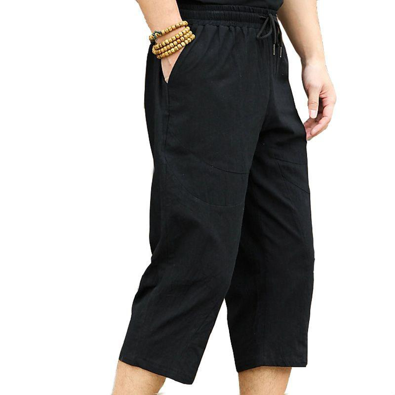 Erkek pantolon mferlier erkekler büyük boy 4XL 5XL 6XL yaz buzağı uzunluğu siyah ve beyaz renkler