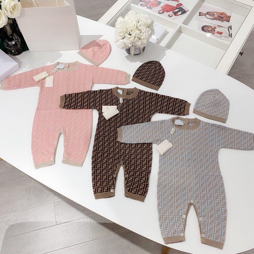 Newborn Infant Baby Romper Girl Boy spring autumn Warm blanket Children Kids Long Sleeve Knit swaddling Jumpsuit Hat 2Pcs Outfits 0-24M