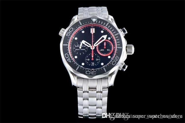 orologio di Lusso banda de goma JH 316L con bisel de cerámica ASIA7753 movimiento tiempo completo automático de relojes 44 * 16 relojes de diseño mm